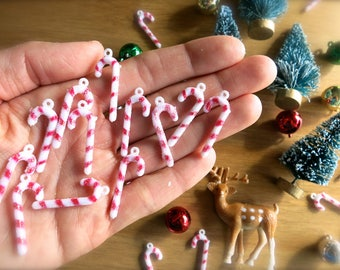 Tiny Retro Glittery Candy Canes-Lot of 12-Red & White Mini Candy Canes-Holiday Crafting-Christmas Terrariums-Tiny Red Ornaments-Putz Village
