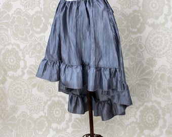 """Steampunk High Low Cecilia Skirt, Longer Length -- Pewter Crinkle Taffeta -- Ready to Ship -- Best Fits Up To 48"""" Waist"""