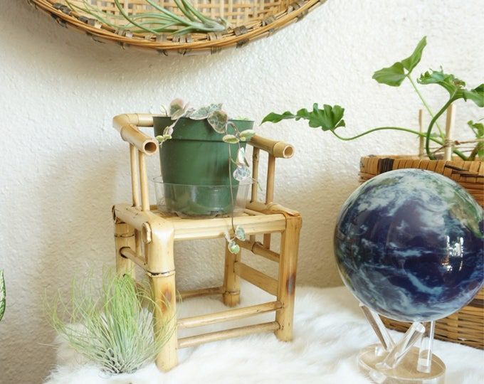 Vintage Mini Bamboo Chair / Planter / Decorative Display