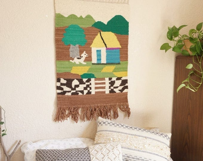 Colorful Woven Wool Wall Hanging Tapestry Fiber Art of a House and Dog