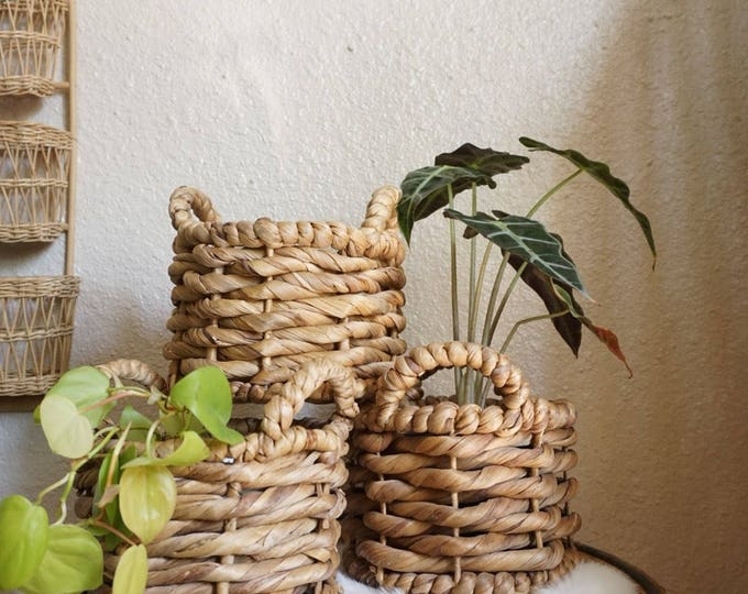 Thick Woven Straw Coiled Basket with Handles
