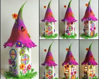 felted fairy lamp, fairy house, table lamp, toadstool, bedside lamp, night light, handmade, felt, Waldorf, READY TO SHIP