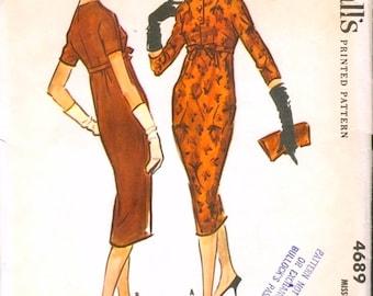 Chic Uncut Vintage 1950s McCall's 4689 Slim Empire Waist Sheath Dress Sewing Pattern B31