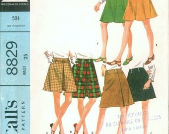 Nice Vintage 1960s McCall's 8829 Skirt Set in 2 Lengths, Flared, A Line and Wrap Skirt Sewing Pattern W25