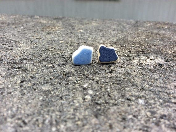 Surf Tumbled Sea Pottery Stud Earrings, 100% of this sale goes towards FUNDRAISING 4 MALU
