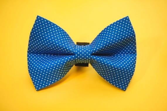 Blue Polka Dot Dog Bow Tie