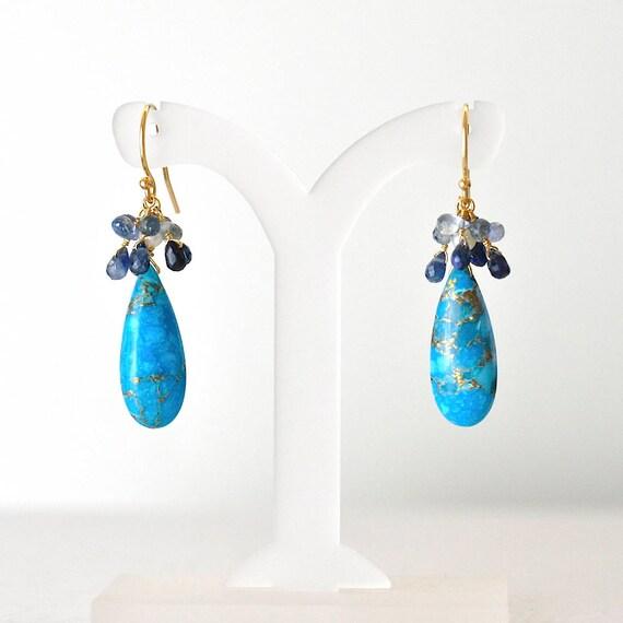 14K Gold. Blue Sapphire, Turquoise Earrings, Sapphire Earrings, September Birthstone Earrings, December Birthstone earrings