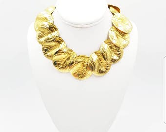 Vintage Signed Les Bernard Gold Tone Chunky Link Necklace, Rare Layered Leaf Statement Collar Necklace
