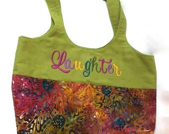 Tote Bag with Pockets Batik Laughter Joy Machine Embroidered Pink Green Handbag Purse Boho Bag Handmade Customizable bananabunch