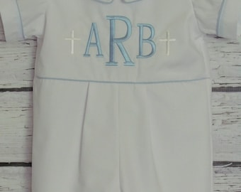 Baby Boy Baptism Romper Shorts or Long Pants Christening Romper Blessing Outfit Baby Dedication Blessing Monogram Initials Cross