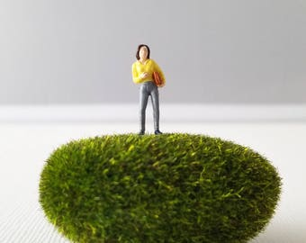 Miniature World Terrarium People Tiny Woman Yellow Work Summer HO Scale Hand painted One of a Kind Railroad Figure