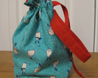 """Small Project Bag - """"Snow Bunnies"""""""