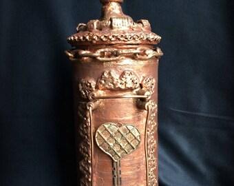 OOAK Handmade Altered Steampunk Bottle