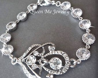 Crystal bracelet, Brides bracelet,Cubic zirconia bracelet,Bridal jewelry,Wedding bracelet,Bridal jewelry, Crystal wedding bracelet ~RACHEL