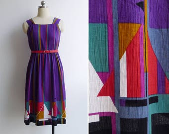 Vintage 80's Abstract Sailboat Crinkled Day Dress XXS or XS