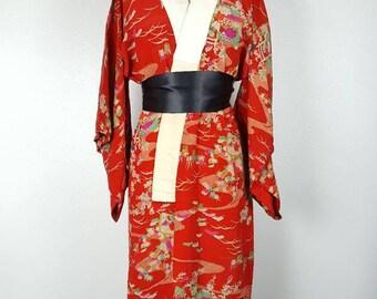 Red Floral Nagajuban - Long Under Kimono Duster