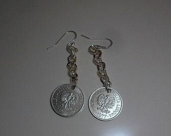 Poland Coin Earrings 1977