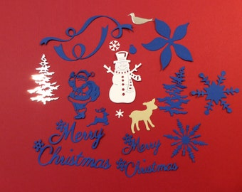 Handmade, Assortment, Christmas Die Cuts, Snowman, Santa Claus, 2 Trees, 2 Merry Christmas Words, 2 Ribbon, 2 Deer, Snowflakes, Poinsettia