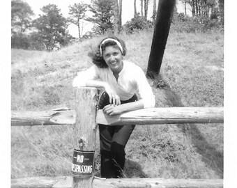 """Vintage Snapshot """"No Trepassing"""" Pretty Girl Hair Blowing In Wind Split Rail Fence Rural America Found Vernacular Photo"""