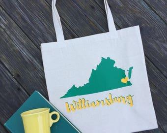 Williamsburg, Virginia Tote Bag - Green and Gold Virginia Tote Bag - Williamsburg Tote Bag - Virginia Reusable Virginia Canvas Tote Bag