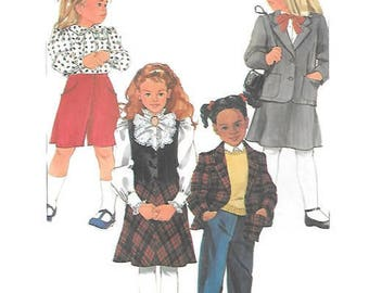 Childs Culottes, Bias Skirt, Pants, Vest & Jacket Sewing Pattern, Size 3,4,5 Simplicity 7060, UNCUT pattern, School Uniform, Holiday Dress