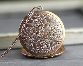 New: Vintage rose gold rose pattern locket necklace. Genuine vintage locket. Long rose gold necklace. Flower locket. Wedding jewelry.