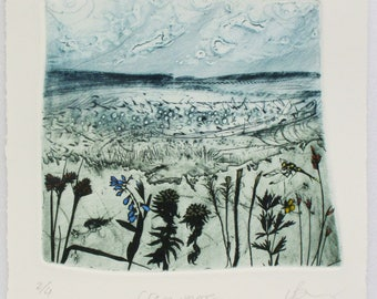 Blanket bog of Dartmoor National Park, Devon. Drypoint with Photo etching. Limited edition print