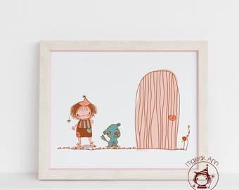 Door of Possibilities - Limited Edition - Nursery Decor - Home Decor- Baby decor - Cute and whimsical illustration with girl and dog