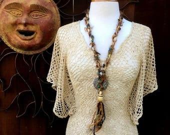 Textile Necklace, Long Beaded Fiber Necklace, Fiber Necklace, Fiber Tassel Necklace, Bohemian, Gypsy, Hippie