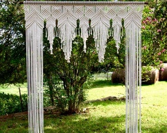 Macrame Arch RENTAL - 6' x 8' Natural White Cotton Rope on Wooden Dowel - Wedding Backdrop, Baby Shower, Birthday Party - Boho Decor - (US)