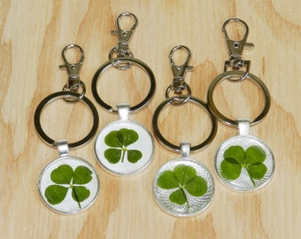 Nature lover gift, Real four leaf clover gift, Good luck charm, Gift for nature lover, Shamrock, Good luck charm, Keychain, Keyring, 4 Leaf