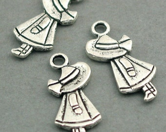 10 Little Girl Charms, Little Lady pendant beads, Antique Silver 10X25mm CM0248S