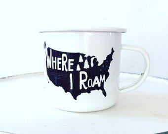 Camp Mug, Explore USA, National Parks, Outdoor Explorer, Outdoor Adventurer White Mug Enamel Mug