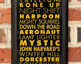Craft Breweries Boston MA Wall Art Plaque Sign Home Decor Scroll Vintage Style Gift Present Beer Brewery Ale Stout Pilsner IPA Classic