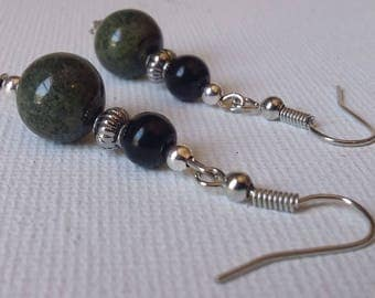 Green Stone and Black Glass Pearl Beaded Earrings