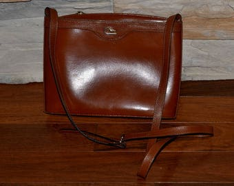 90s Cristian vintage honey tan brown leather purse  shoulder travel  bag Back to school Made in Colombia unisex travel