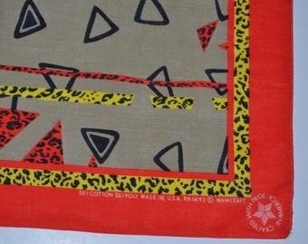 Vintage Wamcraft  bandana cowboy cowgirl abstract pattern leopard spots Bandana biker head scarf cotton poly  bandana Made in USA