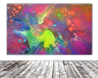 """ORIGINAL ABSTRACT ART - 20x12"""" - Fusion 15, Unique Original Fluid Abstract Painting Fine Art One of a Kind, Gift Wall Decor"""