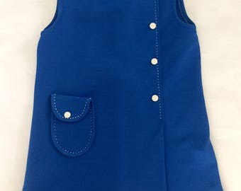 Vintage 1960s Girls' Blue Sleeveless Mod Dress 4 5