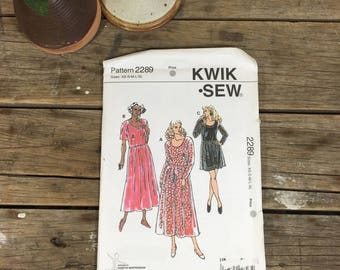 Ladies dress, gathered waist one piece uncut, Kwik Sew 2289, sizes xs-xl