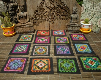 Hmong Hand Cross Stitch Textile,Set Of 14, Hand Needlework Patch, Hmong Textile,