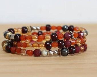 Autumn Bracelet, Boho Bracelet, Stack Bracelet, Orange Bracelet Set, October Bracelet, Sunset Bracelet, Boho Gift