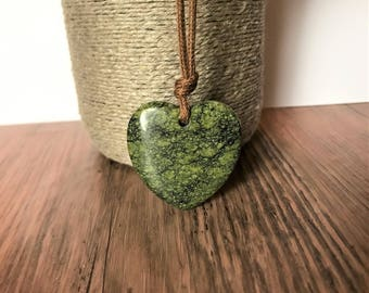 ORGANIC Gemstone Necklace / Mama Necklace - Green Agate Heart on Certified Organic Cotton Cord (Adjustable)