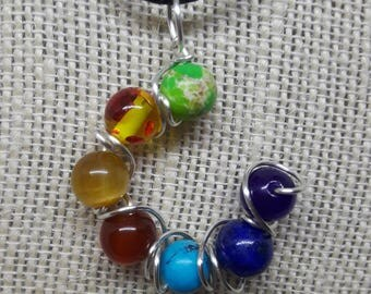 Wire Wrapped Chakra Bead Pendant