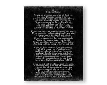 If Rudyard Kipling Poem Print, Graduation Gift, Inspirational Quote, Poetry Wall Art Decor, Dorm Decor, Gift for HIm, Father's Advice to Son