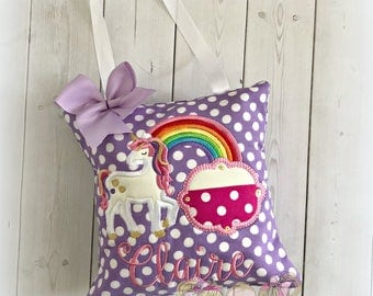"""Purple unicorn tooth fairy pillow - personalized girls tooth fairy pillow - rainbow unicorn tooth fairy pillow - 8"""" tooth fairy pillow"""