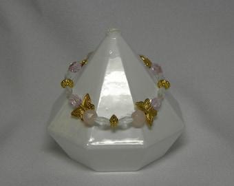 Bracelet: Gold, Pink, and White Butterfly Stretch Bracelet