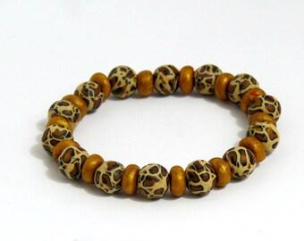 handmade beaded bracelet, bracelet, leopard print bracelet, leopard bracelet, stretchable bracelet, gold bracelet, brown bracelet