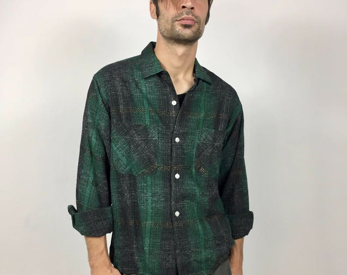 Vintage 1950's Casual Wool Plaid Shirt - Green and Black Plaid Shot with Gold - Mint Vintage Condition  - Men's Shirt Size 15.5 / 34