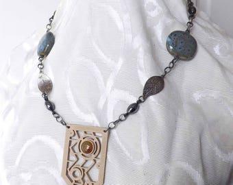 Semiprecious Agate Stone, Silverplate Chain, Hematite beads, Clay Beads